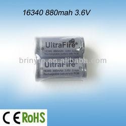 Shenzhen UltraFire 3.6V Li-ion Rechargeable Battery 16340