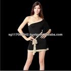 Gold Trimming Polyester and Lycra Little Black One-Shoulder Dress