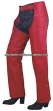 RED LEATHER CHAPS