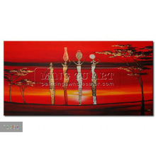 Handmade New Modern African landscape oil painting on canvas, Wall painting Red desert