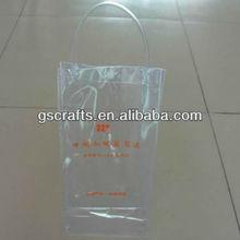 hot sale plastic vinyl pvc wine bottle cooler ice bag with button