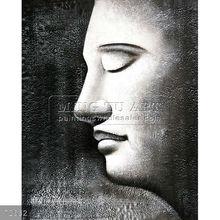 Handmade Modern Abstract Art Holy Buddha Face oil painting on canvas, Buddha Sculpture, I