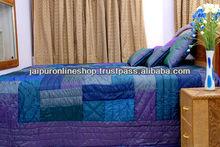Blue Quilt , Patchwork Blue Jaipuri Quilt
