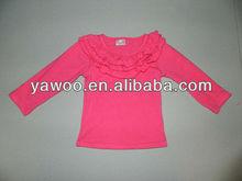 Girls cute o neck long sleeve solid color cotton t-shirt kids girl fashion princess autumn cotton t-shirts