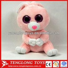 2014 new design cute bunny stuffed big eyes pink plush rabbit toy