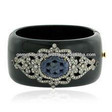 Natural Blue Sapphire Gemstone 18kt Yellow Gold Real Pave Diamond Designer Handmade Wholesale Bakelite Bangle Women's Jewelry