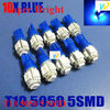 Blue 4X T10 5 SMD 5050 LED Light bulb CANBUS ERROR FREE No Error W5W 194 A103