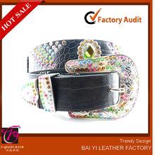yiwu cinturón de cuero de colores de la fábrica de la correa de diamantes de imitación