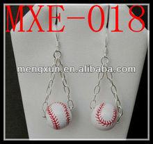 Baseball Ceramic Earrings Wires Handmade in USA dangle hook earrings