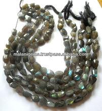 Calibré Labradorite Tumbles Facet perles semi-précieuses