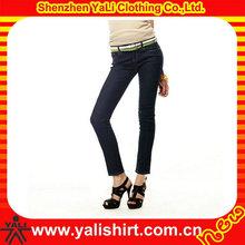 wholesale custom made brand used skinny feeling high quality blank ladies jeans top design