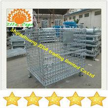 Galvanized steel wire mesh foldable storage cage