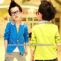 Crianças roupas de meninos blazers com verificação de colarinho, zip bolsos varsity casaco para crianças