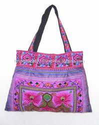 Purple Flower Tote Bag HMONG Cloth Strap Handbag Fair Trade Handmade Thailand