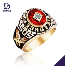Air Force SOS eagle ring with red and gold color for young men