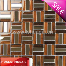 Top grade glass mix Polished stainless steel interior wall kitchen drawing room HG-8k175