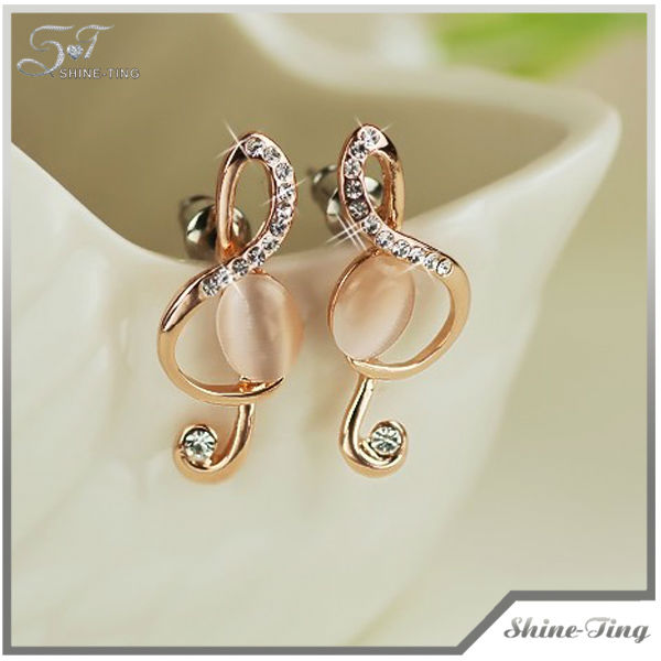 New Lovely Opal Musical Note Alloy Plated Gold Women's Drop Earrings130903-27