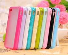 TPU Bumper With Matte Clear Hard Back For Apple iPhone 4 4S Case