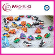 2d marine animal shaped mini erasers