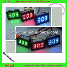 Panel Thermometer DC 12V Voltmeter Temp/volt Gauge Green LED Digital Electronic Clock 18B20 Probe