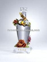 RORO Wealth and Peace peony enamel pewter crystal decorative vase