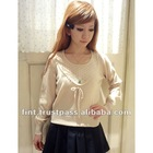 japanese clothes Yoke sax lace sweater embroidery women