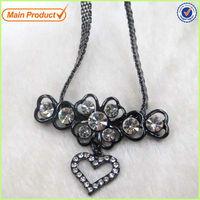 Gun Plating 2014 Classic Cz Diamond Heart Drop Necklace Collar Jewelry #14379