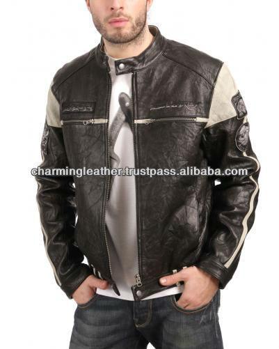 De cuero para hombre de la chaqueta