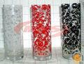 de altura de color baratos florero de vidrio con la etiqueta