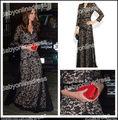 2013 nova moda elegante decote em v preto e branco de renda appliqued vestido de manga comprida vestido da celebridade