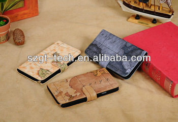 High quality PU leather case for samsung note3 map wallet case