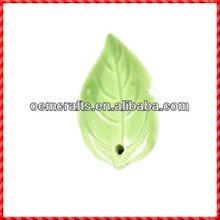 Custom Green Leaf Shaped Novelty Ceramic Incense Holder