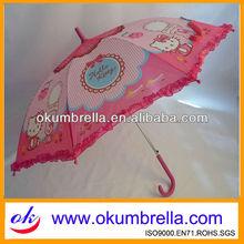 girls pink cartoon umbrella for rain and windproof