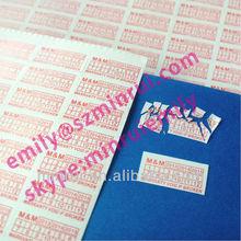 Personalizado 15 x 7 mm impressão Red garantia etiquetas com datas, Garantia sem efeito se removido adesivos, Etiqueta de garantia Void se adulterado