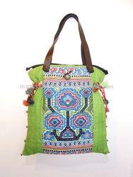 Green Tote Handbag Embroidered Vintage HMONG Cloth Hemp Canvass