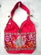 Traditional Ethnic Elephant God Lord Ganesha Embroidery Indian Rajasthani Art Deco Tote Ladies Fashion Sling Cotton Purse Handba