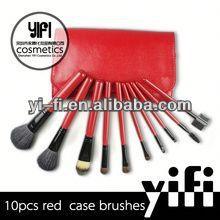 Hot Sale! Red Case 10pcs Makeup Brush set color shine makeup brushes skin makeup