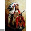Pintadas à mão indiana antiga pintura óleo sobre tela, retrato de uma nativa americana chefe