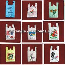 high quality HDPE multi-color printing plastic t shirt shopping bag discount
