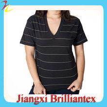 Unisex Pinstripe Jersey Short Sleeve V-Neck 2014 fashion cotton stripe t shirts