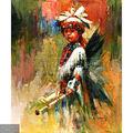 Pintadas à mão indiana antiga criança pintura óleo sobre tela, retrato de uma nativa americana(2)
