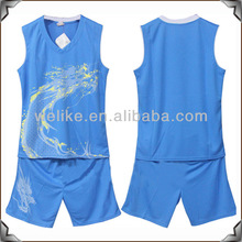 Blue basketball jersey uniform design teams basketball wear cheap wholesale basketball brand