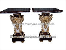Unique Design Square Panel Wood Inlaid Antique Side Table