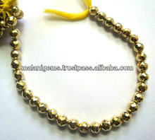 Golden Pyrite Facet Round Beads Semi Precious Gems