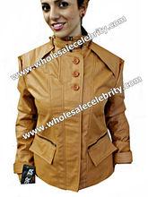 Faux Leather Jacket-Bird Eye Brown Collar Biker