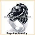 diseño de moda nueva de acero inoxidable de cabeza de león para hombre anillos de diseño dedo anillos
