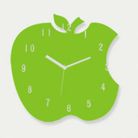 special apple shape green acrylic wall clock