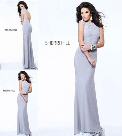 E0326 Sexy Sheath Jewel Short Sleeve Rhinestone Beaded Sequins Long Engagement Prom Blue Evening ...