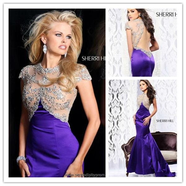 E0327 Sexy Mermaid Jewel Short Sleeve Rhinestone Crystal Beaded Sequins Backless Long Engagement ...