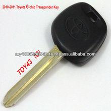 2010-2011 Toyota TOY43 G Chip Transponder Key Blank